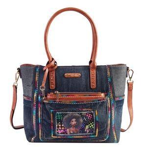 Sequins Denim Shopper Bag